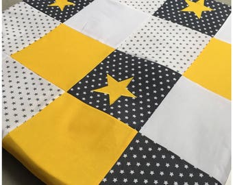 Mat of Park in white, gray and yellow patchwork with stars