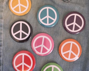 "peace, peace sign button  2.25"" pin back button"