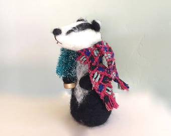 Needle felted Christmas Badger with Christmas tree needle felted animal needle felting badger Woodland animals red green black white cute