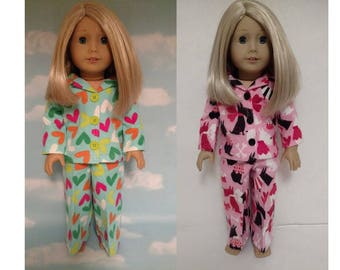 18 inch Girl Doll Clothing, handmade to fit like American Girl Doll clothes, (Pajamas choose light green or pink) pj-406cab