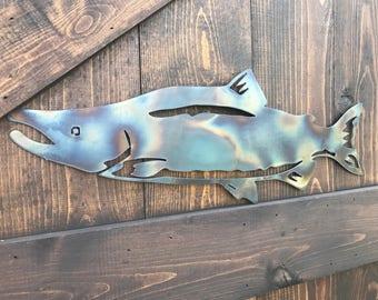 Metal Salmon fishing sign, fly fishing, Cabin decor, Farmhouse, Mancave, Boys room, Lake House, Woodland, Office Decor, Outdoor yard porch