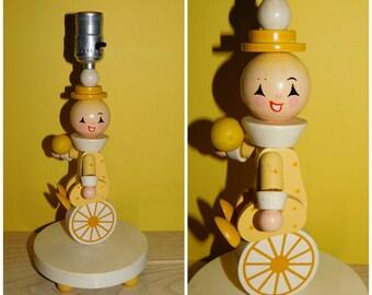 Vintage 60s Nursery Lamp Irmi Nursery Unicycle Clown Lamp Pastel Yellow Nursery Lamp