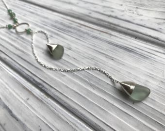 Sea Glass Necklace, Sea Glass Jewelry, Beautiful Sterling Silver and Sea Glass Lariat necklace