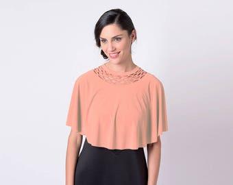 Pink Capelet Shawl, Peach Pink Shawl, Peach Pink Bolero, Women Bolero, Evening Shawl, Loose Shrug, Women's Shrugs, Dress cover, Women Shrug