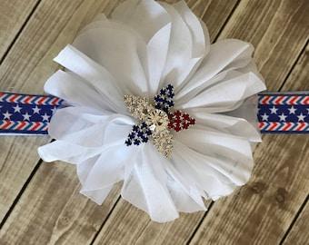 Newborn Headband, Decorative Headband, Patriotic Headband, Red White Blue, Stars and Stripes, 4th of July, Military Homecoming, Baby Girl