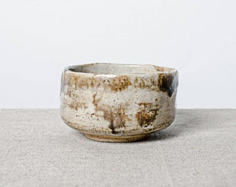 Handmade kiln fired glazed Japanese ceramic stoneware chawan tea bowl