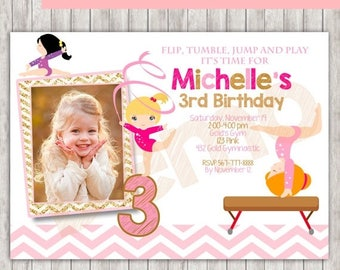 50% Off GYMNASTIC Gold and Pink Photo Invitation, Gymnastic Birthday Invitation, Gymnastic Invitation, Gymnastic Party, Gymnastic invite, Gy