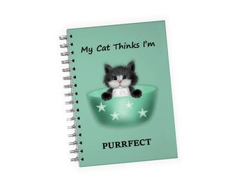 Purrfect Cat Spiral Notebook 4 x 6 - Fits easily in almost any size purse or pocket - Cat Lover Gift