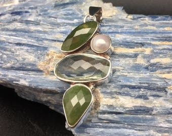 Green Amethyst Pearl Pendant // 925 Sterling Silver // Green Amethyst and Pearl Pendant