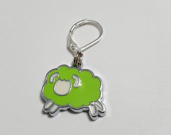 Bright Green Sheep Progress Keeper - Stitch Marker - Lobster Clasp - SM0009