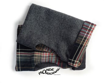 Fingerless gloves in grey and cotton plaid fabric