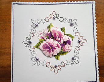 Bouquet of flowers purple - made card 3 D hand