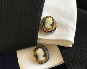 Vintage DANTE Museum Cufflinks. Masterpiece Collection. Caesar Beethovan Incolay Gold Tone Cameo. Christmas Wedding Gift for Dad. Groom. Man