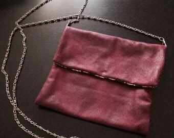 Dark raspberry leather pouch