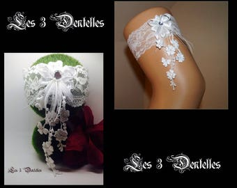 White lace wedding garter * flower rhinestone lace feather * custom