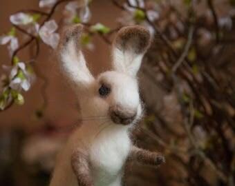Needle Felt Fibre Art Bunny.