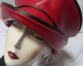 Red Hat day rain - & - Black women stylish chic-eccentric