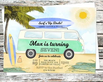 Personalised Camper van Invitation, Surfs Up Beach party invite, Surfer, Palm Trees, Catch a wave, Tropical Summer, VW volkswagen, Festival