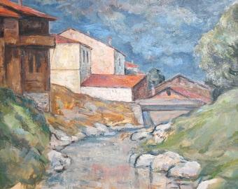 Vintage art oil painting impressionist landscape river