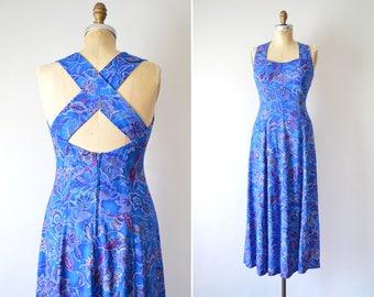 90s Dress, Floral Print Dress, Vintage Dress Small, Blue Sundress, Cut Out Cross Back Dress, Summer Dress // 1990s Soft Grunge Boho Festival
