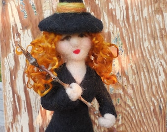 Needle Felted Witch, Halloween Decoration, Witch Hazel, Felt Halloween Decor, Needle Felted Halloween, Fall decor