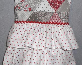 summer dress patchwork ruffle cotton 3/6 months
