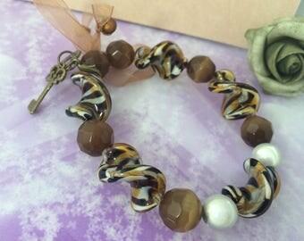 Bracelet spiral Murano Tiger beads