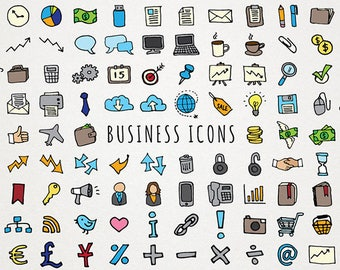Business Icons Clipart Set - planner stickers clipart, business clip art, work icons, office clipart, instant download, blogger icons