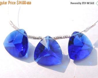 Summer Sale 3 Pcs Trios Beautiful Royal Blue Quartz Concave Cut Trillion Shaped Briolette Size 13 MM