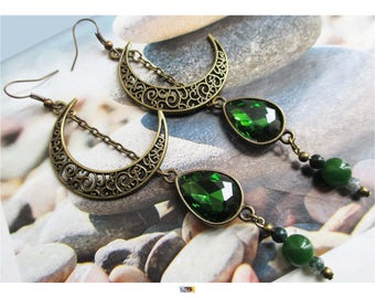 """Earring """"engraved large antique bronze Moon and agate and Emerald colored glass beads"""" on"""