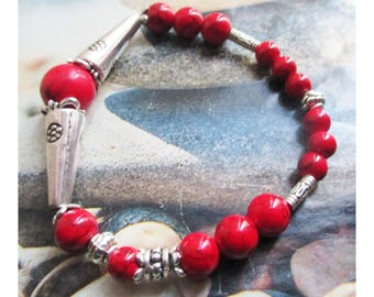 "Tibetan Silver ""Protection"" Howlite Beads Bracelet"