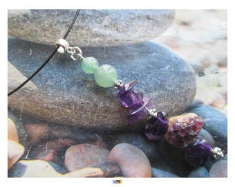 "Choker ""Relaxing-Anti-stress"" Amethyst beads and aventurine on black steel cable"