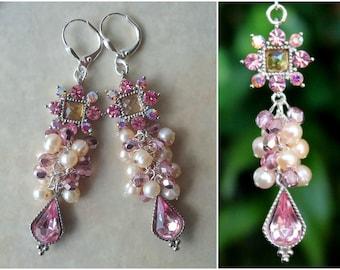 Pink Cluster Earrings.Bridal.White Pearl.Swarovski Crystal.Jeweled.Dangle.Silver.Statement.Chandelier.Wedding.Long Earrings.Formal.Handmade.