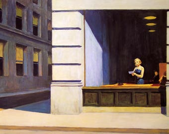 New York Office by Edward Hopper Home Decor Wall Decor Giclee Art Print Poster A4 A3 A2 Large Print FLAT RATE SHIPPING