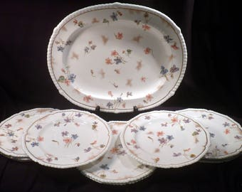 Rare Davis Collamore, Royal Crown Derby set of 10 Salad Plates & Platter, Dated to 1883