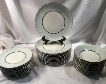 Rare Royal Tettau South Wind 36-Piece Luncheon Set, Green Swirl with Platinum