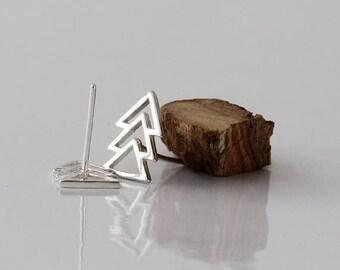 SUMMER SLE Sterling Silver Triangle earrings, Gold plated or Sterling Silver stud earrings, Ear climber,   Nickel free