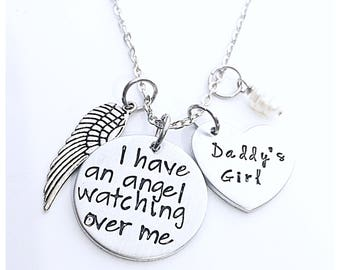 I have an angel watching over me, daddys girl necklace, dad memorial necklace, I used to be his angel now he's mine, loss of a father jewelr