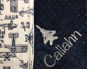 Vintage Airplane Baby Blanket Navy Airplane Baby Blanket Minky Plane Nursery Theme Vintage Plane Nursery Aircraft Baby Blanket Navy Blue