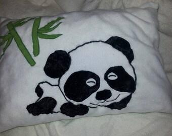 Pillow stuffed Panda and his bamboo patterns