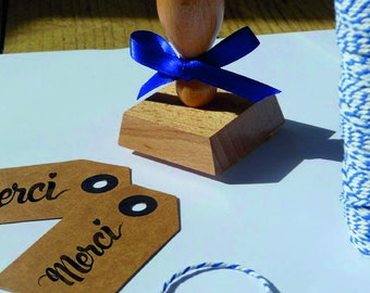 "Stamp ""thank you heart"" with wooden handle vintage"