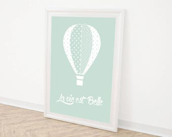 "Poster A4 or A3 ""life is beautiful"" green"
