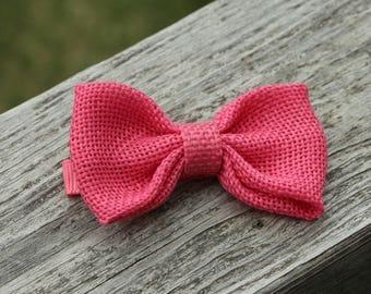 Hot pink hair child - no slip hair clip - loop burlap