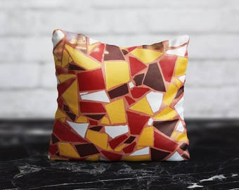 Tile Pillow Cover Turkish Cushion Cover Yellow Red PillowCase Portugal Throw Pillow Cover Geometric Silk Pillow Satin Luxury Decor Her Gift