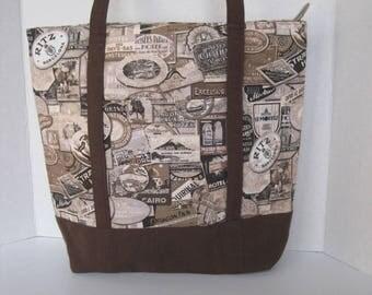 Handbag Tote Fabric Handmade Women's Accessories Brown Hotel Print