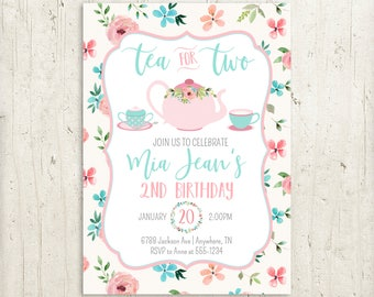 Tea For Two Birthday Party Invitation Girl 2nd Invite