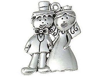 5 Bride Groom Wedding Tibetan Silver Charms (057)