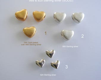 999 & 925 Sterling Silver, Heart, bead/pendant (SOLID) and 24K gold plated over 999 Sterling Silver Heart, bead/pendant. Sizes on pictures
