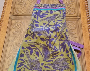 Purple, Green, & Teal Jacquard Tea Towel Apron, Adjustable Strap Apron, One of a Kind, Woven Apron, Full Apron, Ready to Ship, MarjorieMae