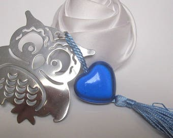 Bookmark OWL and blue heart